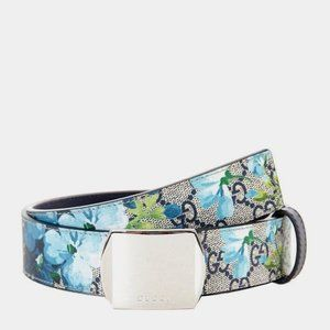 Gucci GG Blooms Belt with Square Buckle in Blue